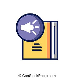 sound symbol and book icon, colorful line and fill style