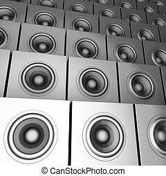 sound-system, ensemble, dj, render, chrome, disc-jockey, argent, 3d