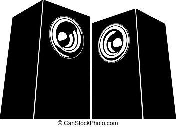 sound-system, orador, ilustração