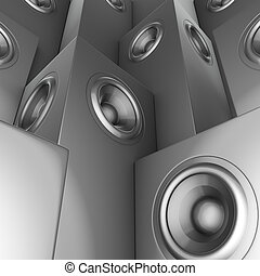 sound-system, render, disc-jockey, chrome, ensemble, argent, dj, 3d