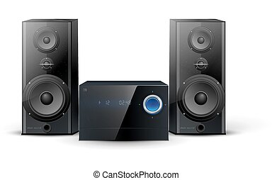 sound system clipart. sound system - hi-fi stereo with two speakers clipart can stock photo