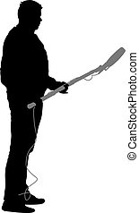 Sound technician with microphone in hand. Silhouettes on white background