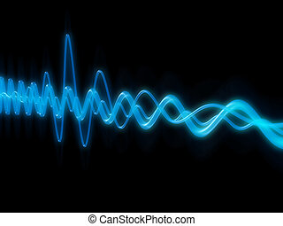 sound wave  - 3d rendered illustration of blue sound waves