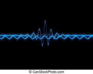 sound wave  - 3d rendered illustration of blue sound waves
