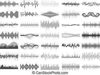 Sound wave and music digital equalizer panel. Soundwave...