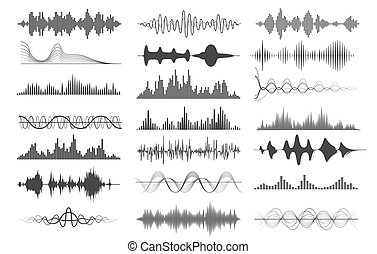 Sound wave charts. Voice and radio frequency waves graphs, ...