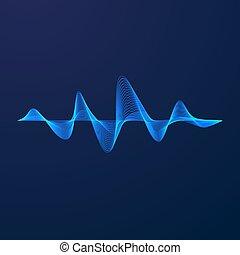Sound wave. Equalizer pattern. Abstract blue digital waveform. Vector illustration