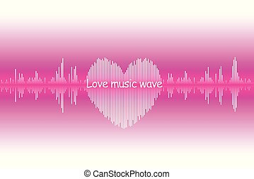 Sound wave heart icon. Love song music signal