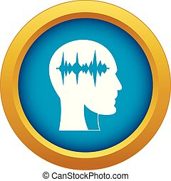 Sound wave icon blue vector isolated