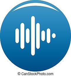 Sound wave icon blue vector