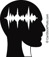 Sound wave icon in human head icon, simple style