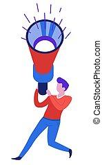 Sound wave loudspeaker or megaphone man with bullhorn