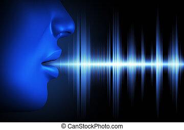 Sound wave of voice - Conceptual image about human voice