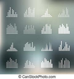 Sound wave shapes. - Sound wave shapes on blur background.