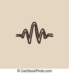 Sound wave sketch icon.