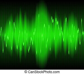sound wave - green sound waves oscillating on black...