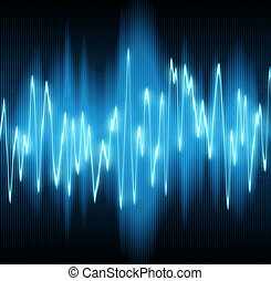 sound waves oscillating on black background