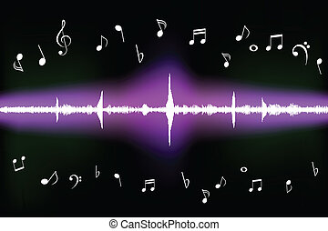 Sound wave with music notes - Sound wave with various music...