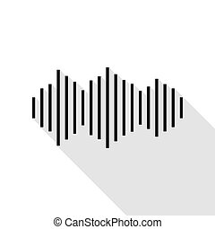 Sound waves icon. Black icon with flat style shadow path.