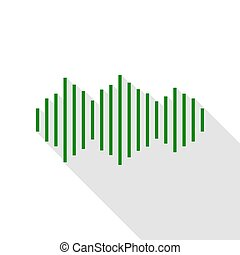 Sound waves icon. Green icon with flat style shadow path.