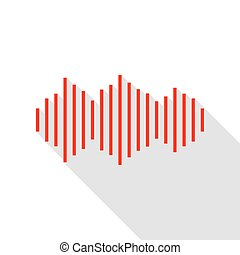 Sound waves icon. Red icon with flat style shadow path.