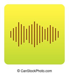 Sound waves icon. Vector. Brown icon at green-yellow gradient square with rounded corners on white background. Isolated.