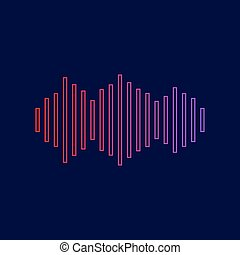 Sound waves icon. Vector. Line icon with gradient from red to violet colors on dark blue background.