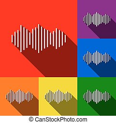 Sound waves icon. Vector. Set of icons with flat shadows at red, orange, yellow, green, blue and violet background.