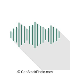 Sound waves icon. Veridian icon with flat style shadow path.