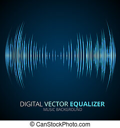 Sound waves oscillating equalizer on black background