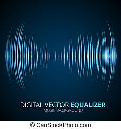 Sound waves oscillating equalizer on black background