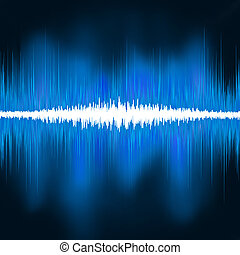 Sound waves oscillating glow light. EPS 8 vector file ...