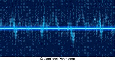 Sound waves oscillating glow with binary code , neon light. Abstract technology background , vector illustration