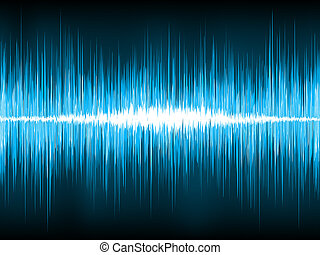 Sound waves oscillating on black background. EPS 8 vector...