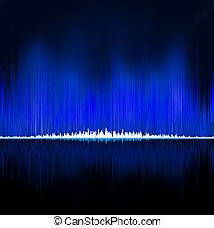 Sound waves oscillating on black background. EPS 8 vector...