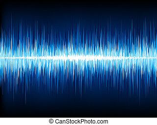 Sound waves oscillating on black. EPS 10 - Sound waves...