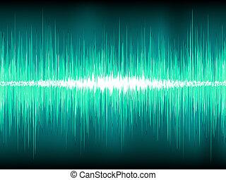 Sound waves oscillating on blue. EPS 8