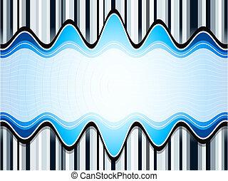 Sound waves over stripes bluish background