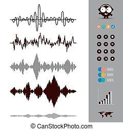 Sound waves set. Audio equalizer style. Music.