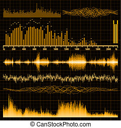 Sound waves set. Music background. EPS 8 vector file ...