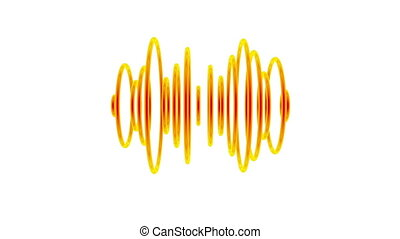 Sound waves - Set of orange pulsating sound waves