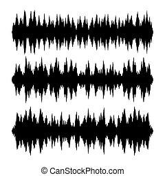 Sound Waves Set on White Background. Vector