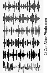 sound waves set - Sound waves set. Halftone digital music...