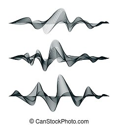 Sound waves track design. Set of audio waves. Abstract ...