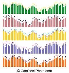 Sound waves vector set. Audio equalizer