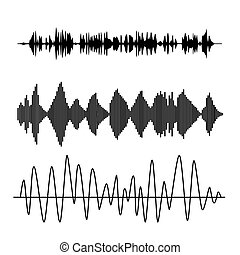 Sound waves - Vector sound waves set. Audio technology...