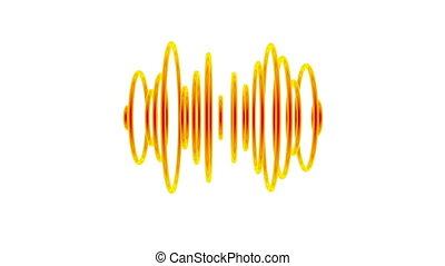Sound waves - Set of orange pulsating sound waves