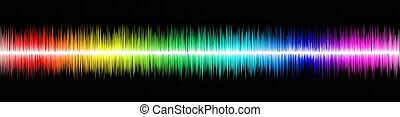Sound wawe - Rainbow sound wawe on black background