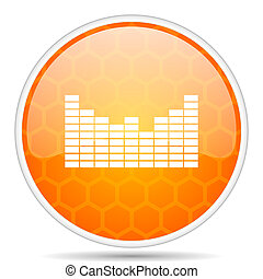 Sound web icon. Round orange glossy internet button for webdesign.