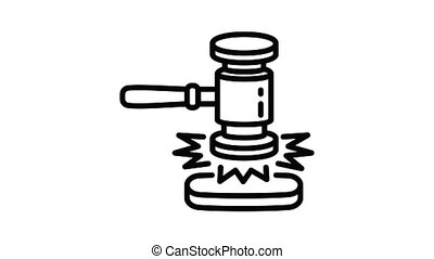 Sound wood gavel icon animation best object on white background